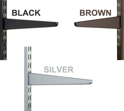 Black Brown or Silver Twinslot Shelving
