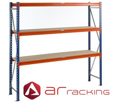 AR Longspan 3 Level Shelving Bays 600mm Deep