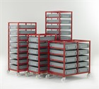 Red Tray Rack with Euro Containers