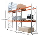 AR Pallet Racking 2 Bay Kit: 2500h x 2700w x 1100d