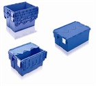 Stack and Nest Allibert Attached Lid Blue Containers